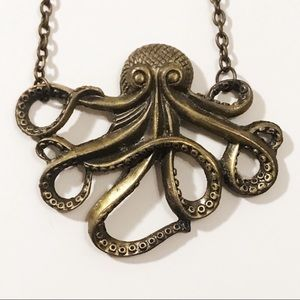ZAD Gold Metal Octopus Charm Necklace